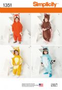 1351 Simplicity Pattern: Toddlers' Animal Costumes